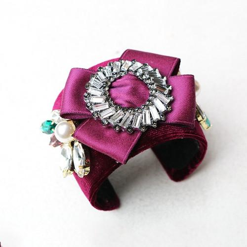 Jeweled Velvet Cuff Bracelet