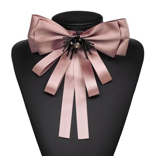 Silk Bow Tie Neck Collar Brooch