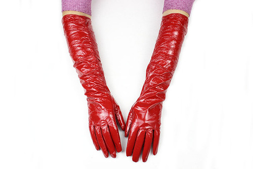 Red Patent Leather Gloves