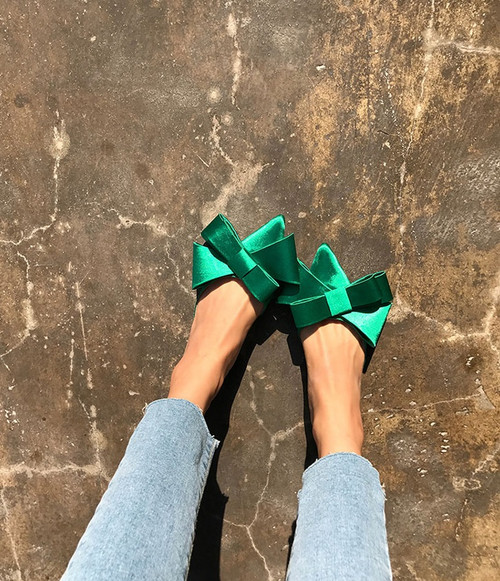 Over Sized Bow Silk Mules