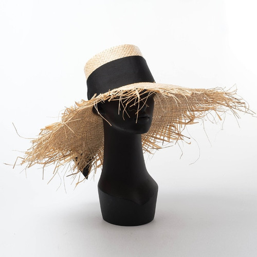 Wide Brim Straw Edge Hat