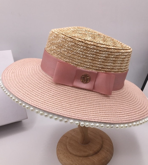 Pearl Adorned Pink Hat