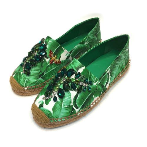 Jeweled Leather Espadrilles
