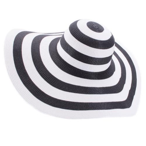 Wide Brim Striped Straw Hat