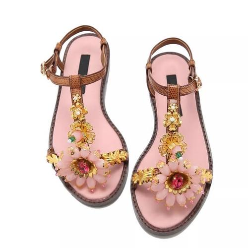 Jeweled Gem T Strap Sandals