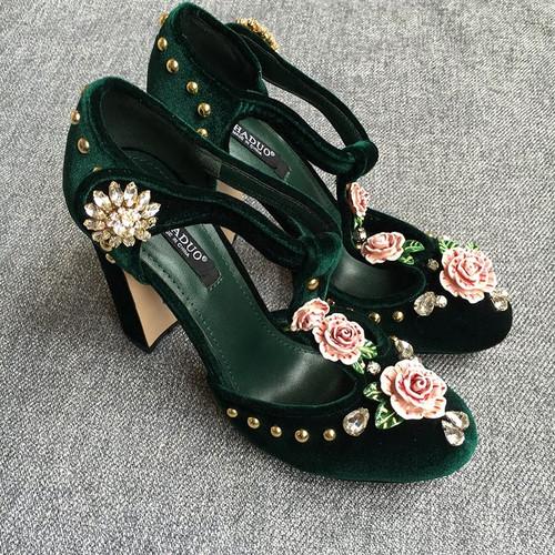 Jeweled T Strap Velvet Shoes
