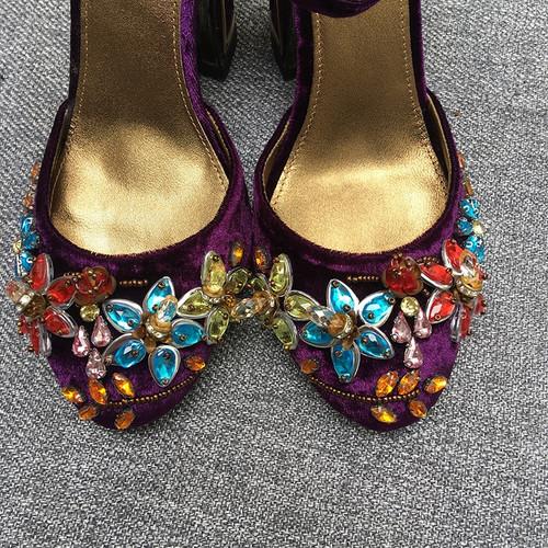 Jeweled  Mary Jane Velvet Shoes