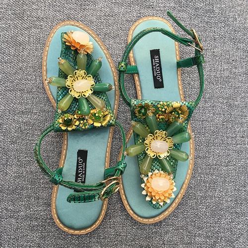 Jeweled Gem Green Sandals