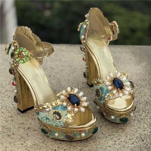 Jeweled Platform Sandals