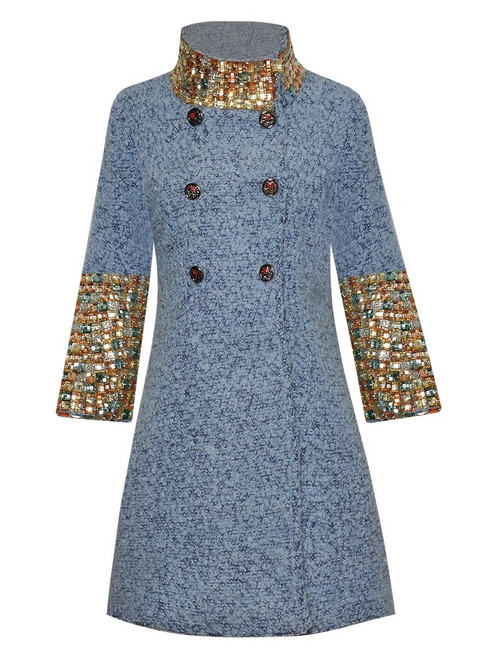 Double Breasted Jeweled Wool Coat
