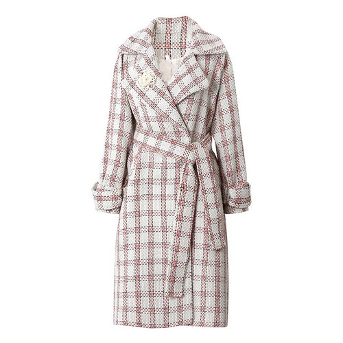 Checkered Wool Trench Coat