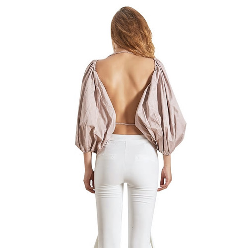 Puff Sleeves Backless Blouse