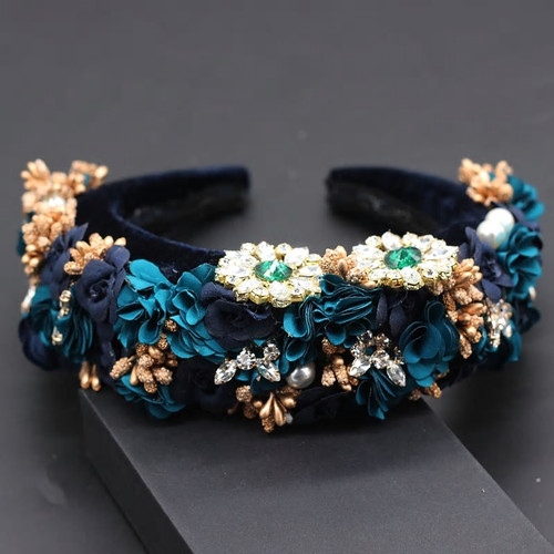 Floral Applique Baroque Headband Blue