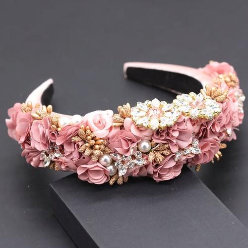 Floral Applique Baroque Headband Pink