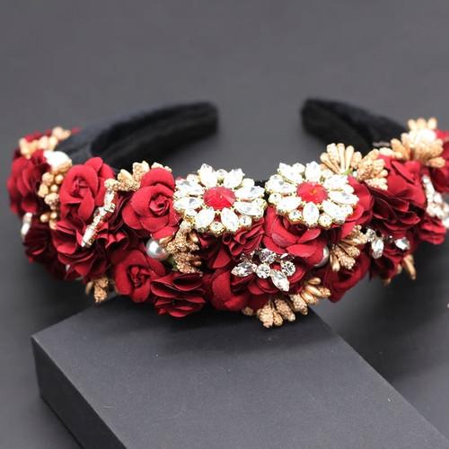 Floral Applique Baroque Headband Red