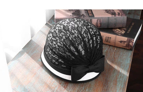 Gathered Lace Cloche Hat