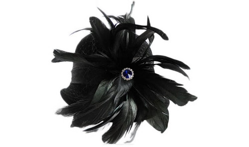 Feather Jeweled Cloche Hat