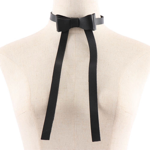 Leather Bow Tie Necklace