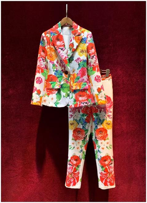 Floral Print Pant Suit