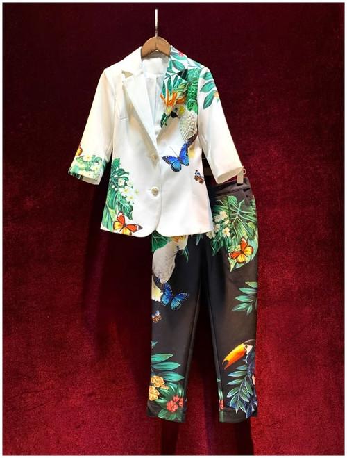 Bird Print Pant Suit
