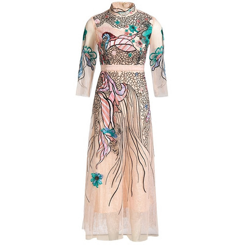 Flower Embroidery Fit Flare Dress