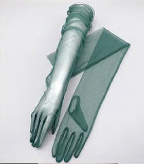 Green Sheer Tulle Opera Gloves