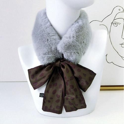 Faux Fur Collar Polka dot Silk Scarf2