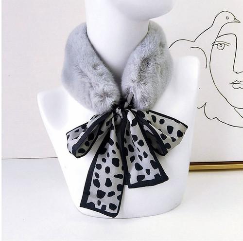 Faux Fur Collar Polka dot Silk Scarf4