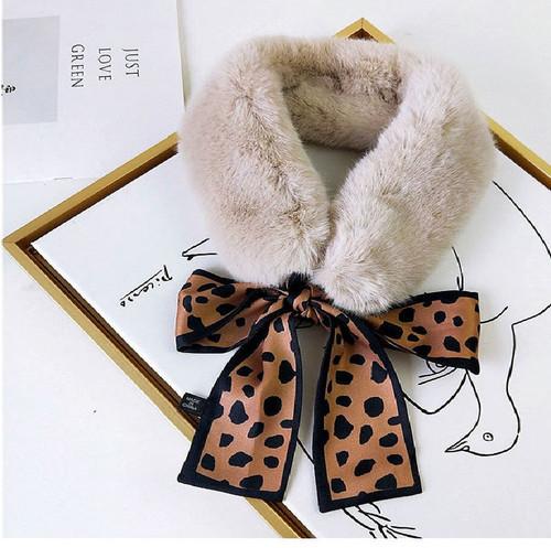 Faux Fur Collar Polka dot Silk Scarf5
