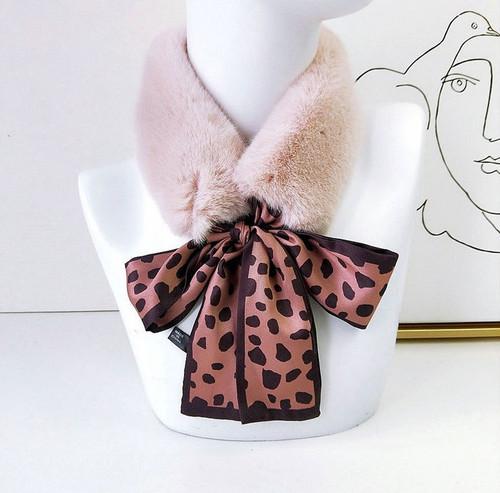 Faux Fur Collar Polka dot Silk Scarf6