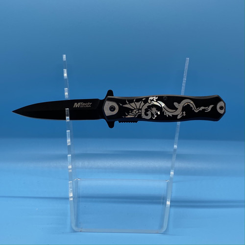 Black & Silver Dragon Pocket Knife