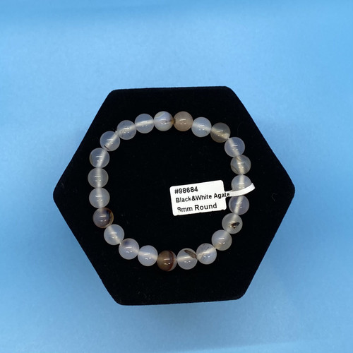 Black & White Agate Gemstone Bracelets