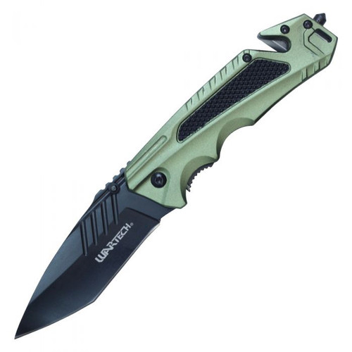 Green Pocket Knife with Seat Belt Cutter