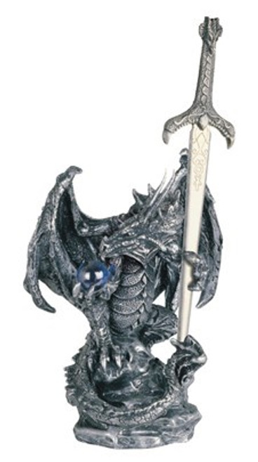 Silver Dragon with Sword 5""