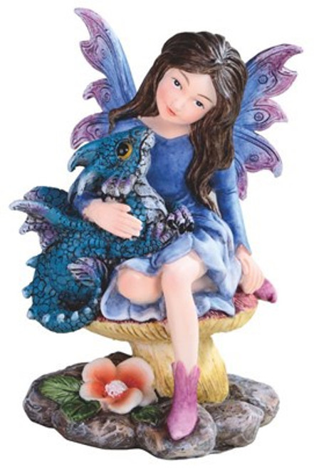 Blue Fairy with Baby Blue Dragon