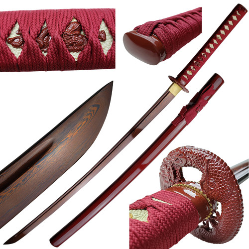 Red Damascus Handmade Katana Sword
