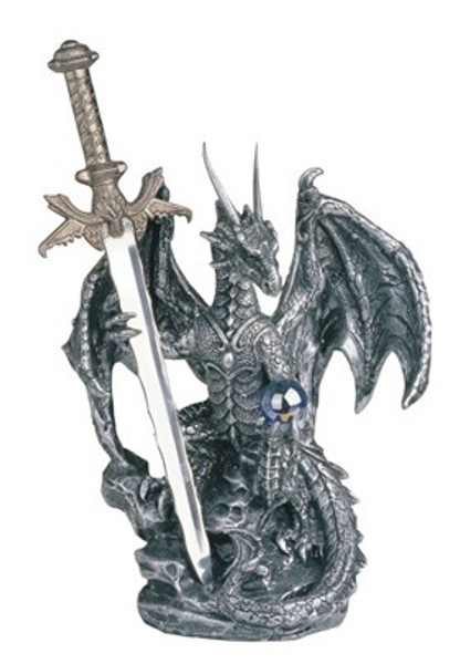 Silver Dragon with Letter Opener Sword