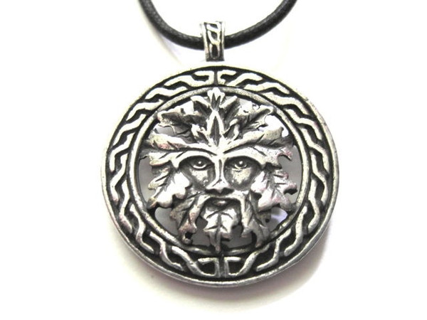 Green Man Celtic Visions Pewter Necklace