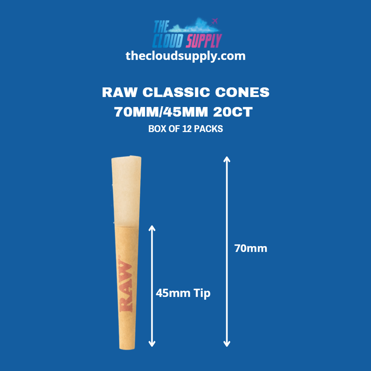 RAW Raw Classic Cones 70mm/45mm 20ct - Box of 12 Packs at The Cloud Supply
