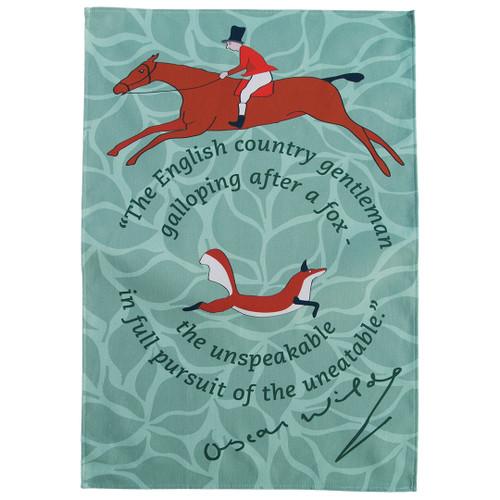 Fox hunting Oscar Wilde tea towel