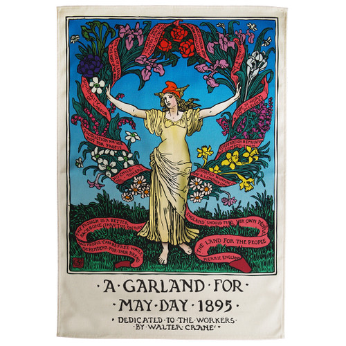 Garland for May Day 1895 tea towel