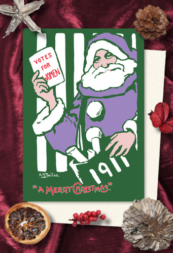Votes for Women Purple Santa Christmas cards pack of 8