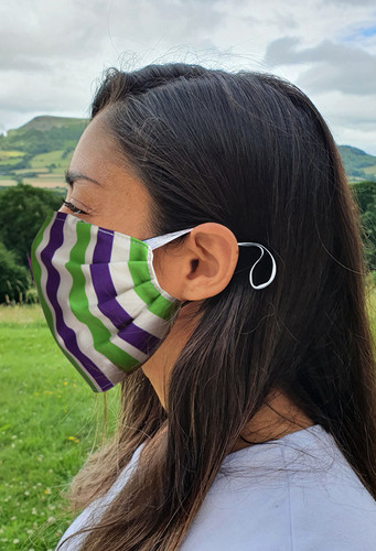 Suffragette Stripes face mask with elastic