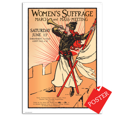 Women's Suffrage Bugler Girl poster