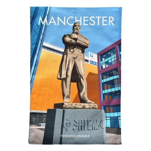 Manchester Engels Statue tea towel