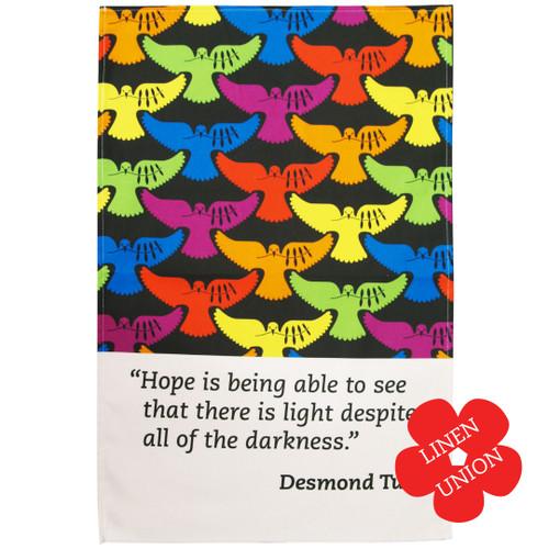 Desmond Tutu linen union tea towel