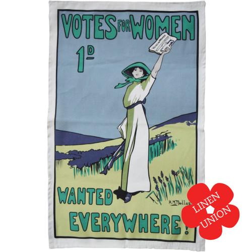 Votes for Women Wanted linen union tea towel