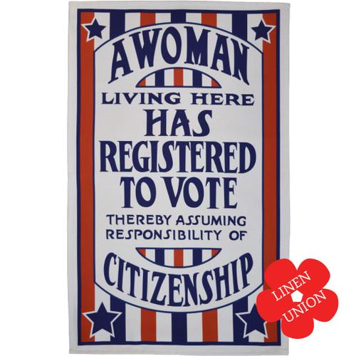 A Woman Registered to Vote linen union tea towel