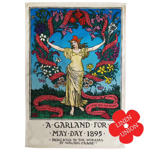 Garland for May Day 1895 linen union tea towel