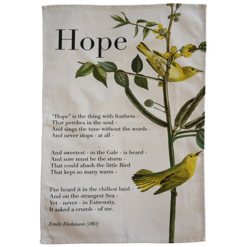 Emily Dickinson 'Hope' tea towel